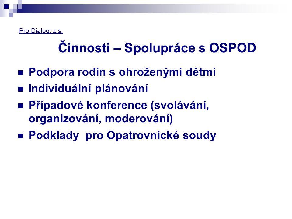 Pro Dialog, z.s. Činnosti – Spolupráce s OSPOD Podpora rodin s ohroženými dětmi Individuální plánování Případové konference (svolávání, organizování,