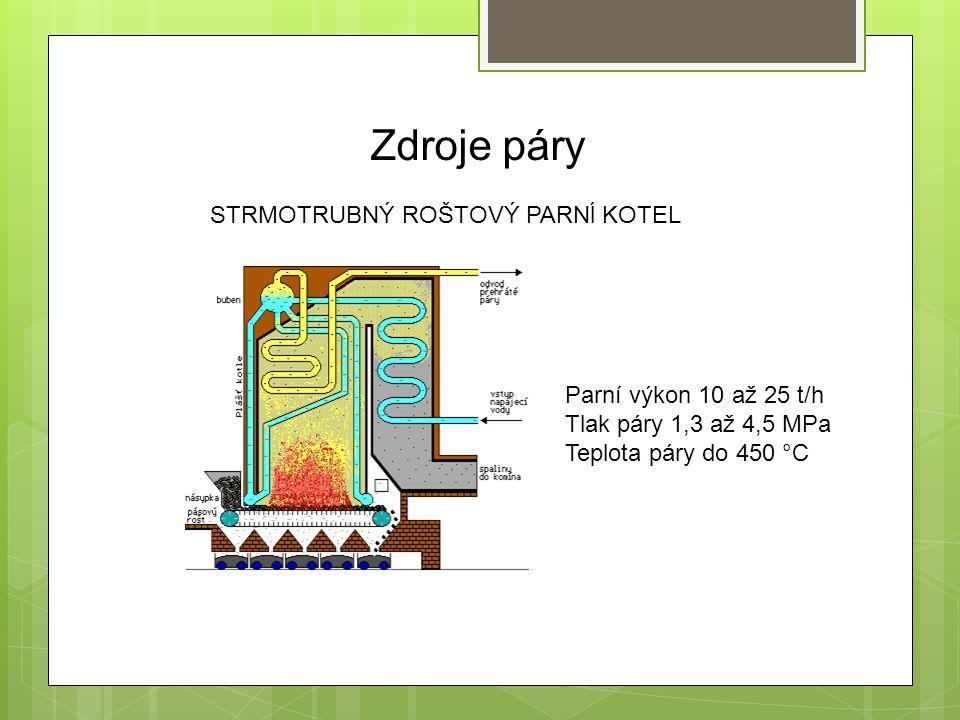 Zdroje páry STRMOTRUBNÝ ROŠTOVÝ PARNĺ KOTEL Parní výkon 10 až 25 t/h Tlak páry 1,3 až 4,5 MPa Teplota páry do 450 °C