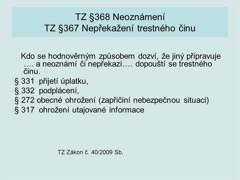 Formy korupce v TZ - Zákoně č.40/2009 Sb.