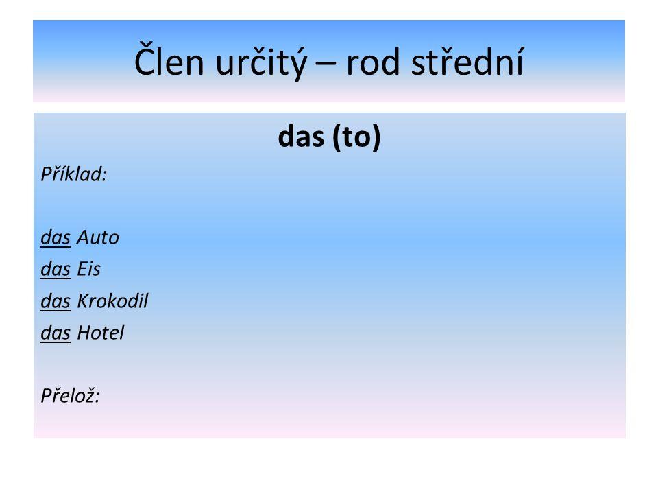 Člen určitý – rod střední das (to) Příklad: das Auto das Eis das Krokodil das Hotel Přelož: