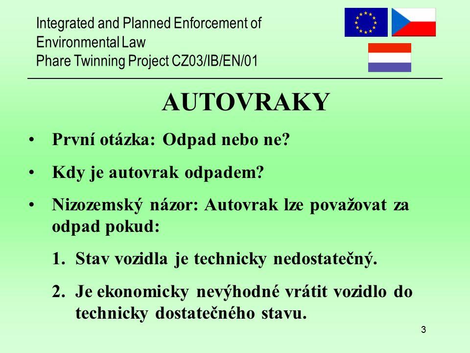 Integrated and Planned Enforcement of Environmental Law Phare Twinning Project CZ03/IB/EN/01 3 První otázka: Odpad nebo ne? Kdy je autovrak odpadem? N