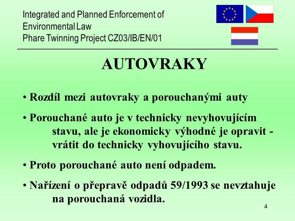Integrated and Planned Enforcement of Environmental Law Phare Twinning Project CZ03/IB/EN/01 5 AUTOVRAKY Autovrak je v technicky nevyhovujícím stavu a není ekonomicky výhodné jej opravit - vrátit do technicky vyhovujícího stavu.
