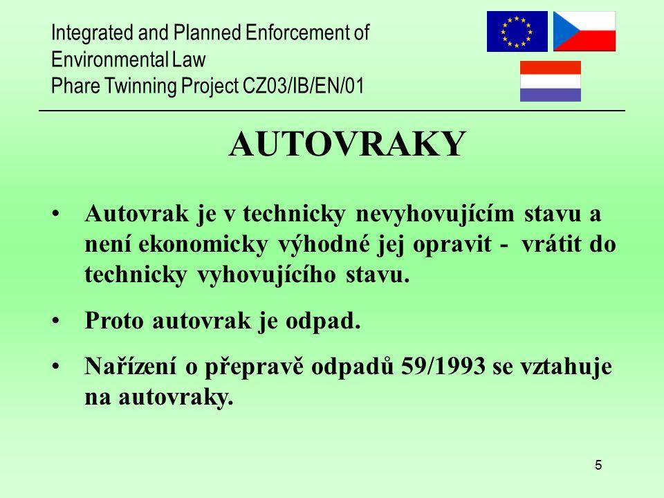 Integrated and Planned Enforcement of Environmental Law Phare Twinning Project CZ03/IB/EN/01 6 AUTOVRAKY Rozpoznávání autovraků: 1.Vozidlo nevyhovuje technickým standardům české legislativy týkající se dopravy.