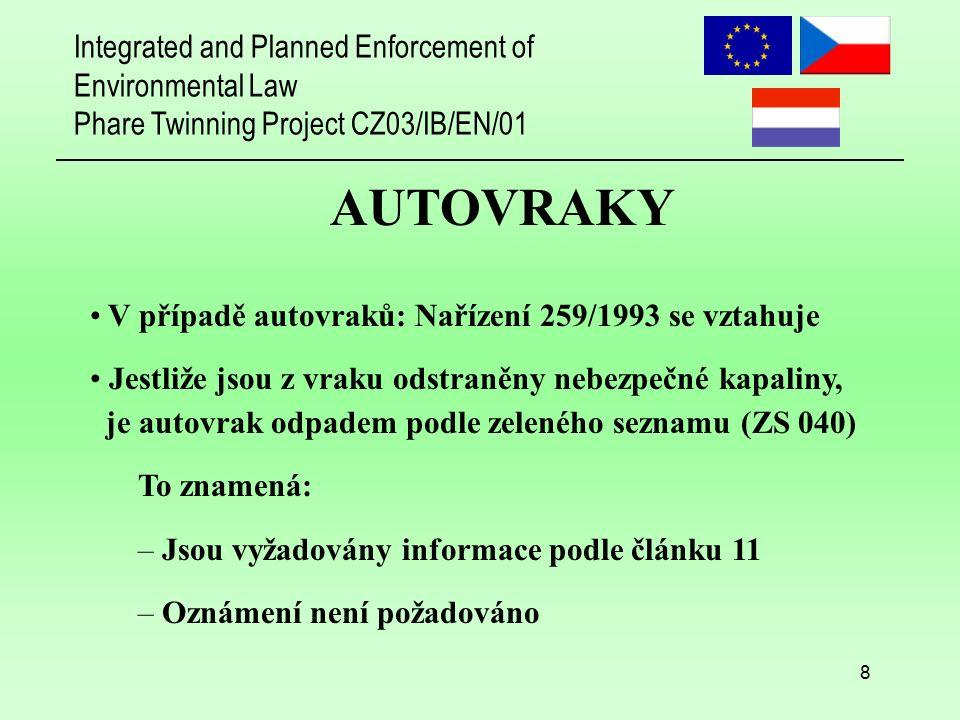 Integrated and Planned Enforcement of Environmental Law Phare Twinning Project CZ03/IB/EN/01 9 AUTOVRAKY Jestliže z vraku nejsou odstraněny nebezpečné kapaliny, Není autovrak součástí žádného seznamu Je vyžadován postup oznamování podle ČERVENÉHO SEZNAMU