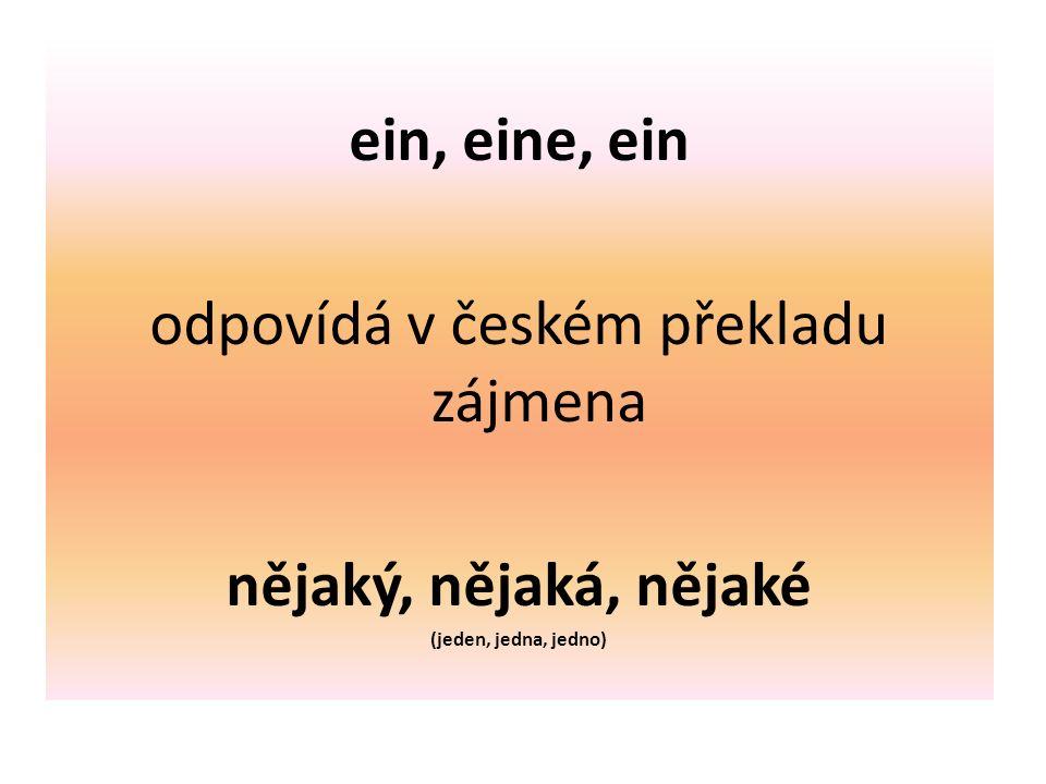 ein, eine, ein odpovídá v českém překladu zájmena nějaký, nějaká, nějaké (jeden, jedna, jedno)
