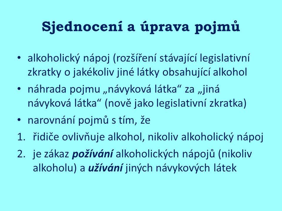 """Sjednocení a úprava pojmů alkoholický nápoj (rozšíření stávající legislativní zkratky o jakékoliv jiné látky obsahující alkohol náhrada pojmu """"návyková látka za """"jiná návyková látka (nově jako legislativní zkratka) narovnání pojmů s tím, že 1.řidiče ovlivňuje alkohol, nikoliv alkoholický nápoj 2.je zákaz požívání alkoholických nápojů (nikoliv alkoholu) a užívání jiných návykových látek"""