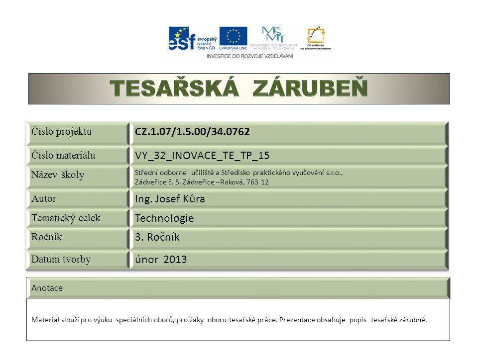 Anotace Materiál slouží pro výuku speciálních oborů, pro žáky oboru tesařské práce. Prezentace obsahuje popis tesařské zárubně.