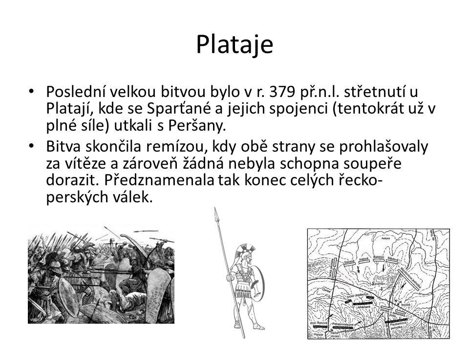 Plataje Poslední velkou bitvou bylo v r. 379 př.n.l. střetnutí u Platají, kde se Sparťané a jejich spojenci (tentokrát už v plné síle) utkali s Peršan