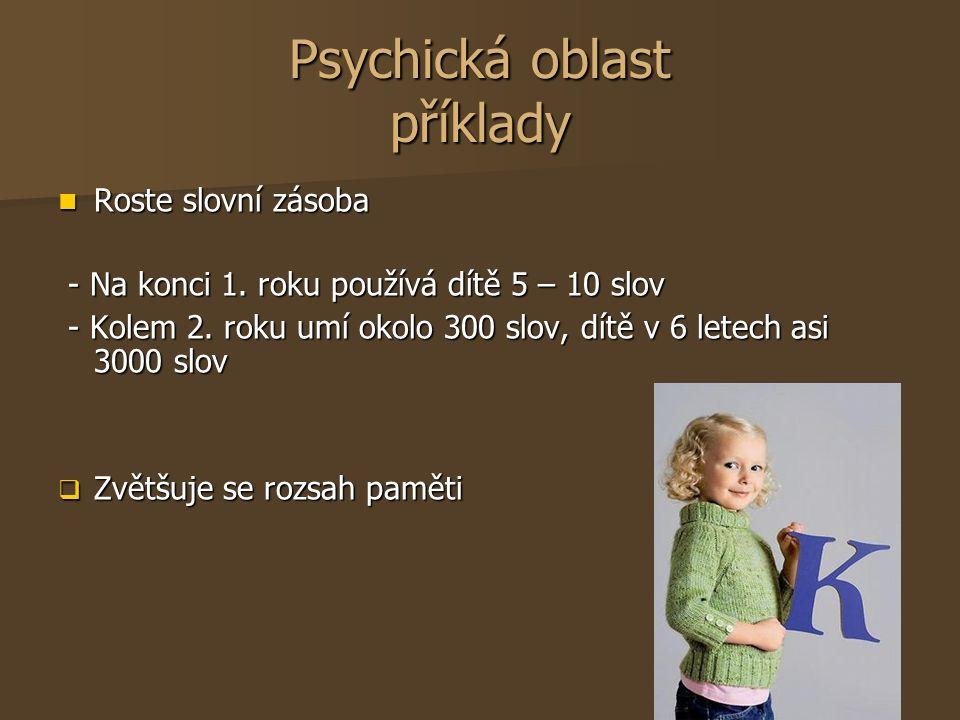 Psychická oblast příklady Roste slovní zásoba Roste slovní zásoba - Na konci 1. roku používá dítě 5 – 10 slov - Na konci 1. roku používá dítě 5 – 10 s
