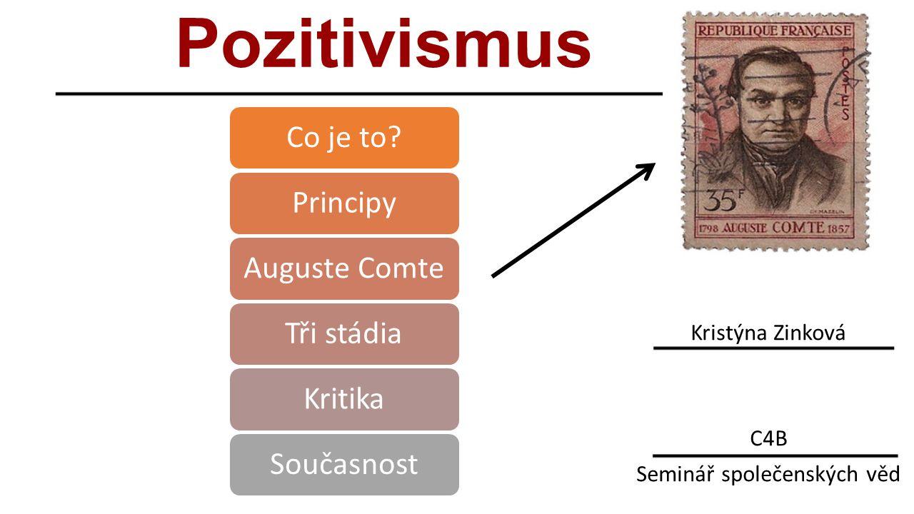 Pozitivismus Kristýna Zinková C4B Seminář společenských věd Co je to PrincipyAuguste ComteTři stádiaKritikaSoučasnost