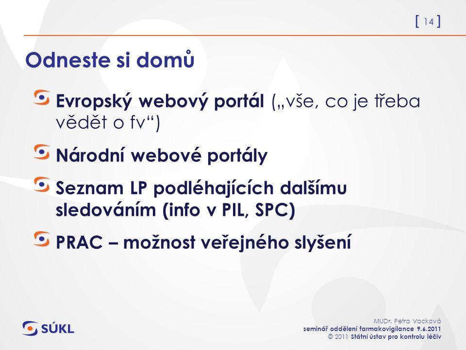 """[ 14 ] MUDr. Petra Vacková seminář oddělení farmakovigilance 9.6.2011 © 2011 Státní ústav pro kontrolu léčiv Odneste si domů Evropský webový portál ("""""""