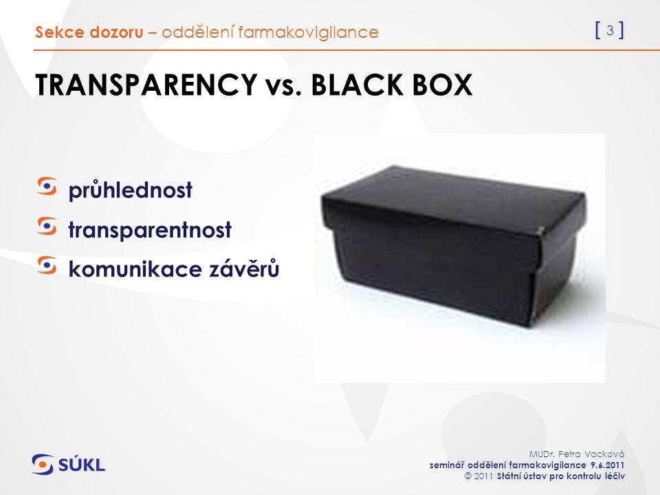 [ 3 ] MUDr. Petra Vacková seminář oddělení farmakovigilance 9.6.2011 © 2011 Státní ústav pro kontrolu léčiv TRANSPARENCY vs. BLACK BOX průhlednost tra