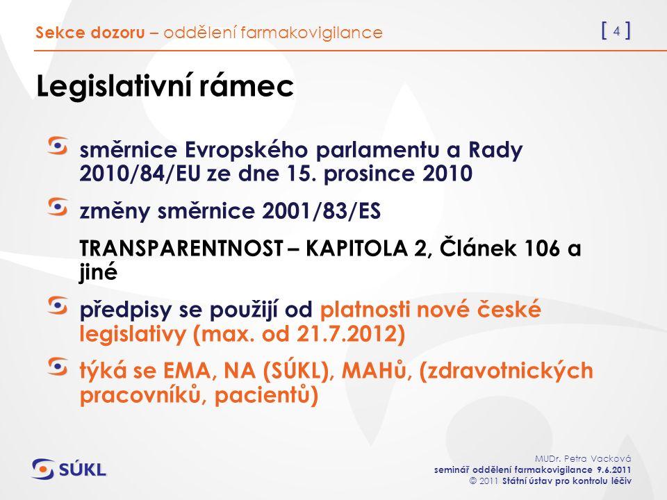 [ 4 ] MUDr. Petra Vacková seminář oddělení farmakovigilance 9.6.2011 © 2011 Státní ústav pro kontrolu léčiv Legislativní rámec směrnice Evropského par