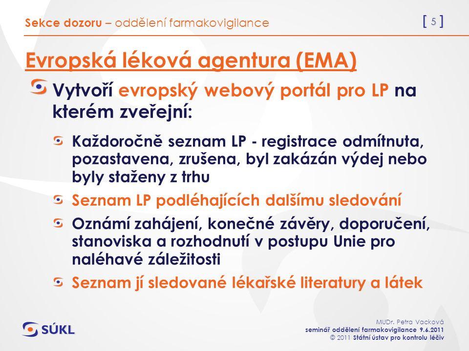 [ 5 ] MUDr. Petra Vacková seminář oddělení farmakovigilance 9.6.2011 © 2011 Státní ústav pro kontrolu léčiv Evropská léková agentura (EMA) Vytvoří evr