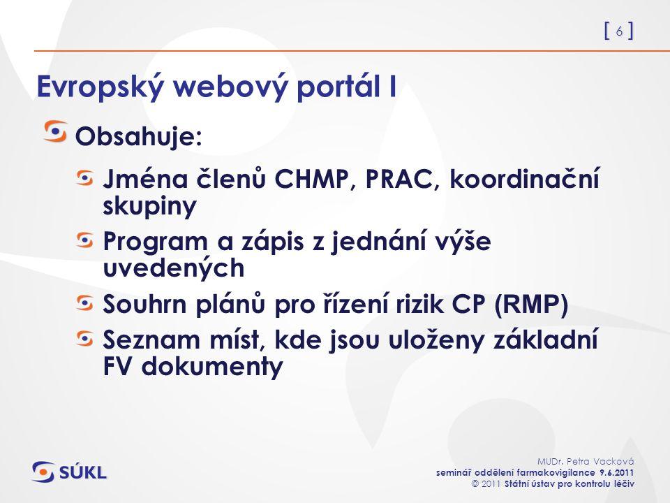 [ 6 ] MUDr. Petra Vacková seminář oddělení farmakovigilance 9.6.2011 © 2011 Státní ústav pro kontrolu léčiv Evropský webový portál I Obsahuje: Jména č