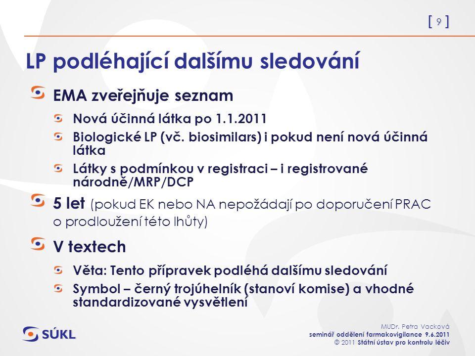 [ 9 ] MUDr. Petra Vacková seminář oddělení farmakovigilance 9.6.2011 © 2011 Státní ústav pro kontrolu léčiv LP podléhající dalšímu sledování EMA zveře
