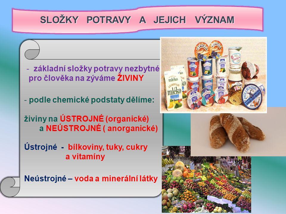 SLOŽKY POTRAVY A JEJICH VÝZNAM - základní složky potravy nezbytné pro člověka na zýváme ŽIVINY - podle chemické podstaty dělíme: živiny na ÚSTROJNÉ (organické) a NEÚSTROJNÉ ( anorganické) Ústrojné - bílkoviny, tuky, cukry a vitamíny Neústrojné – voda a minerální látky