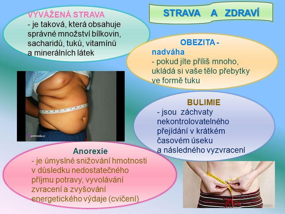 STRAVA A ZDRAVÍ VYVÁŽENÁ STRAVA - je taková, která obsahuje správné množství bílkovin, sacharidů, tuků, vitamínů a minerálních látek OBEZITA - nadváha - pokud jíte příliš mnoho, ukládá si vaše tělo přebytky ve formě tuku Anorexie - je úmyslné snižování hmotnosti v důsledku nedostatečného příjmu potravy, vyvolávání zvracení a zvyšování energetického výdaje (cvičení) BULIMIE - jsou záchvaty nekontrolovatelného přejídání v krátkém časovém úseku a následného vyzvracení