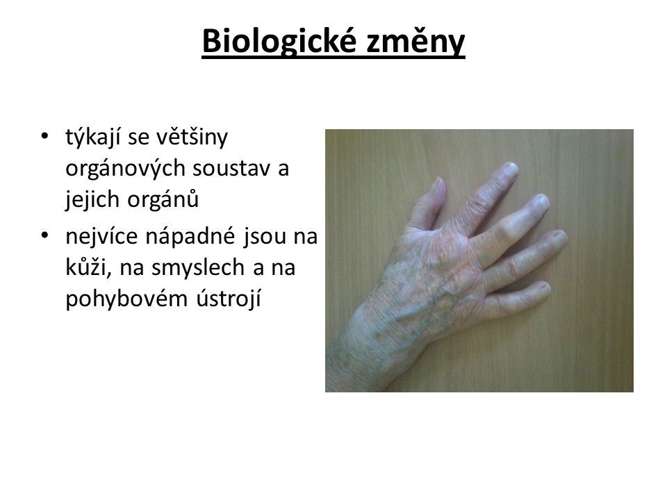 Biologické změny týkají se většiny orgánových soustav a jejich orgánů nejvíce nápadné jsou na kůži, na smyslech a na pohybovém ústrojí