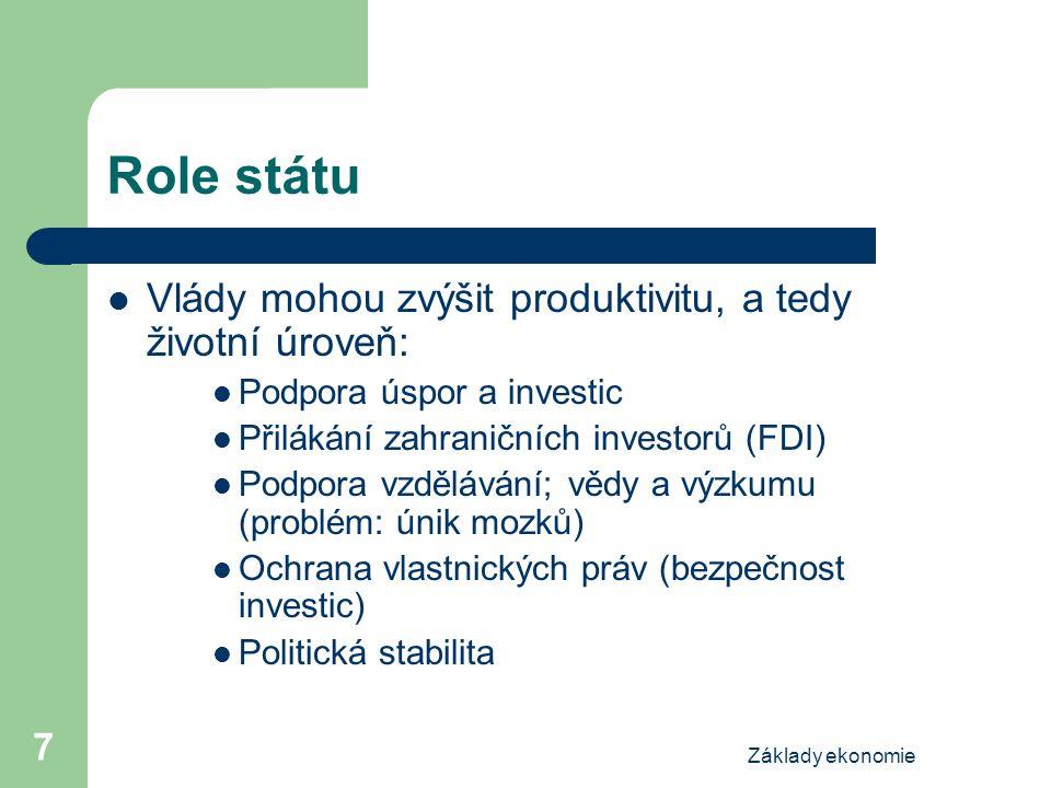 Základy ekonomie 7 Role státu Vlády mohou zvýšit produktivitu, a tedy životní úroveň: Podpora úspor a investic Přilákání zahraničních investorů (FDI) Podpora vzdělávání; vědy a výzkumu (problém: únik mozků) Ochrana vlastnických práv (bezpečnost investic) Politická stabilita