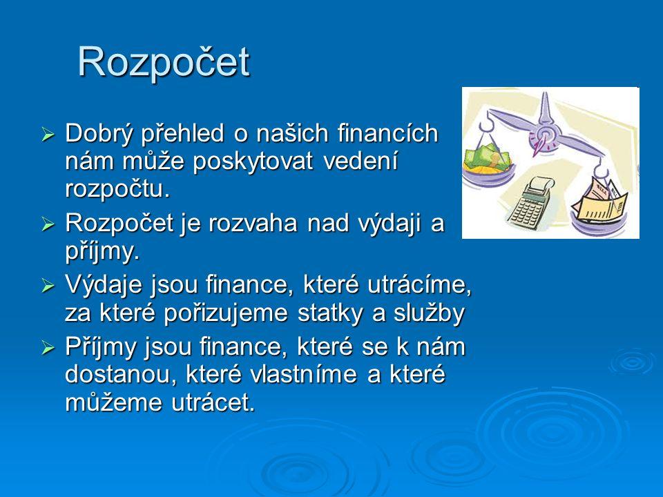 Rozpočet  Dobrý přehled o našich financích nám může poskytovat vedení rozpočtu.