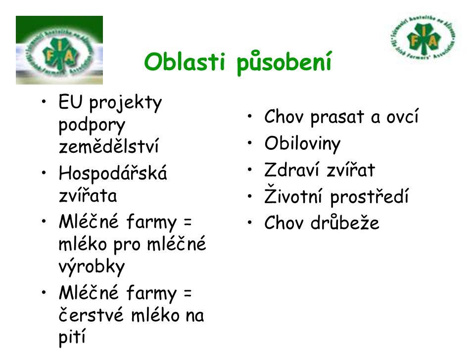 Oblasti působení EU projekty podpory zemědělství Hospodářská zvířata Mléčné farmy = mléko pro mléčné výrobky Mléčné farmy = čerstvé mléko na pití Chov prasat a ovcí Obiloviny Zdraví zvířat Životní prostředí Chov drůbeže