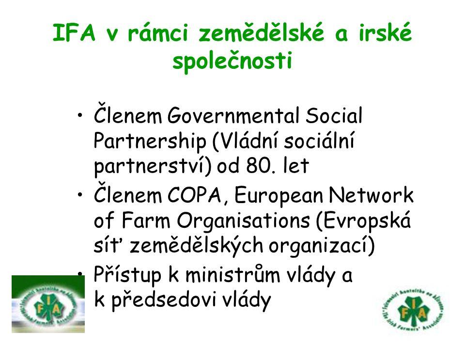 IFA v rámci zemědělské a irské společnosti Členem Governmental Social Partnership (Vládní sociální partnerství) od 80.