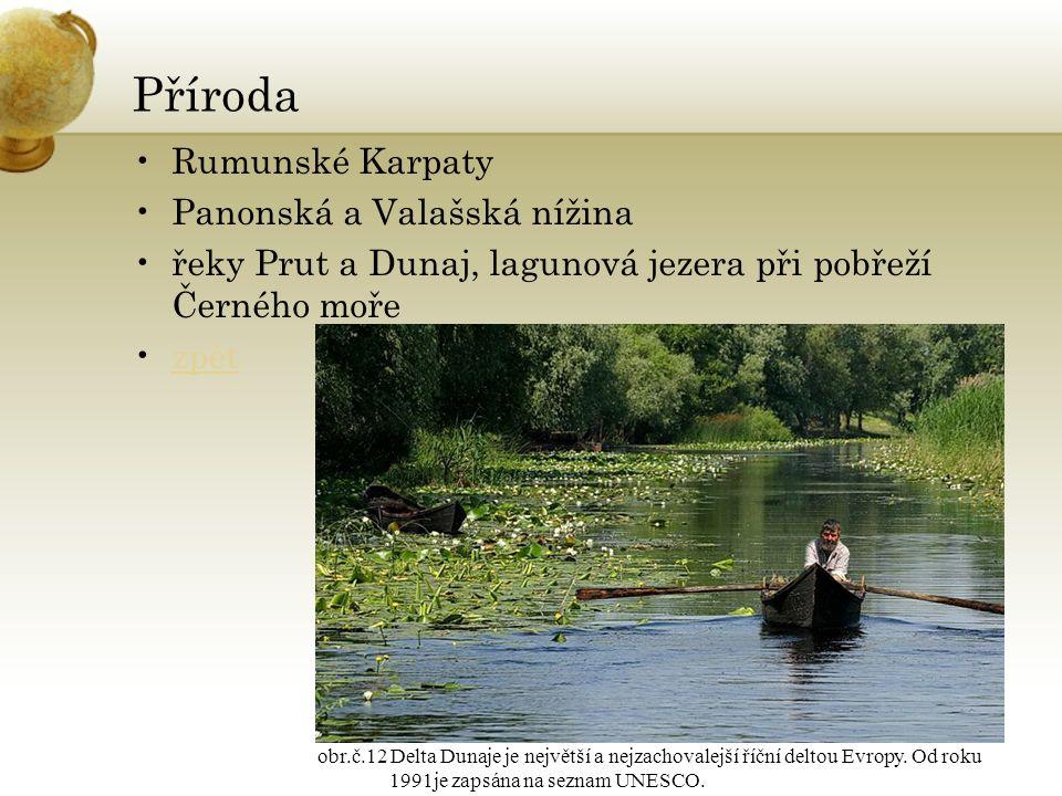 Příroda Rumunské Karpaty Panonská a Valašská nížina řeky Prut a Dunaj, lagunová jezera při pobřeží Černého moře zpět obr.č.12 Delta Dunaje je největší a nejzachovalejší říční deltou Evropy.