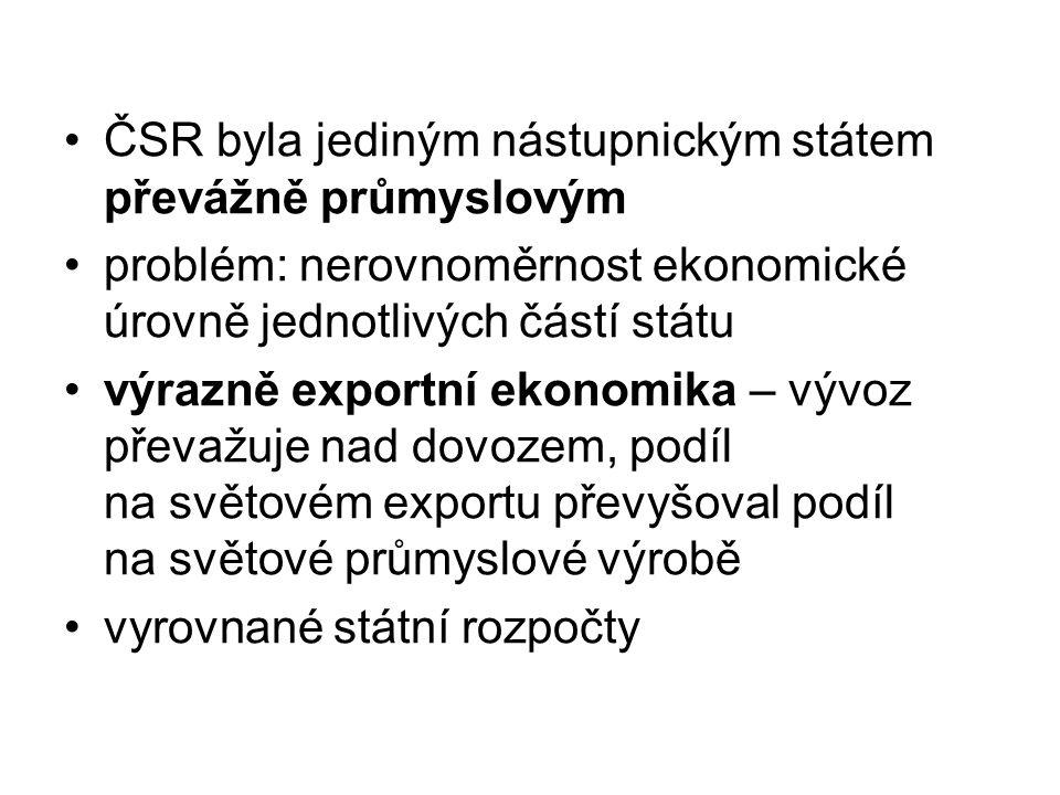 ČSR byla jediným nástupnickým státem převážně průmyslovým problém: nerovnoměrnost ekonomické úrovně jednotlivých částí státu výrazně exportní ekonomika – vývoz převažuje nad dovozem, podíl na světovém exportu převyšoval podíl na světové průmyslové výrobě vyrovnané státní rozpočty