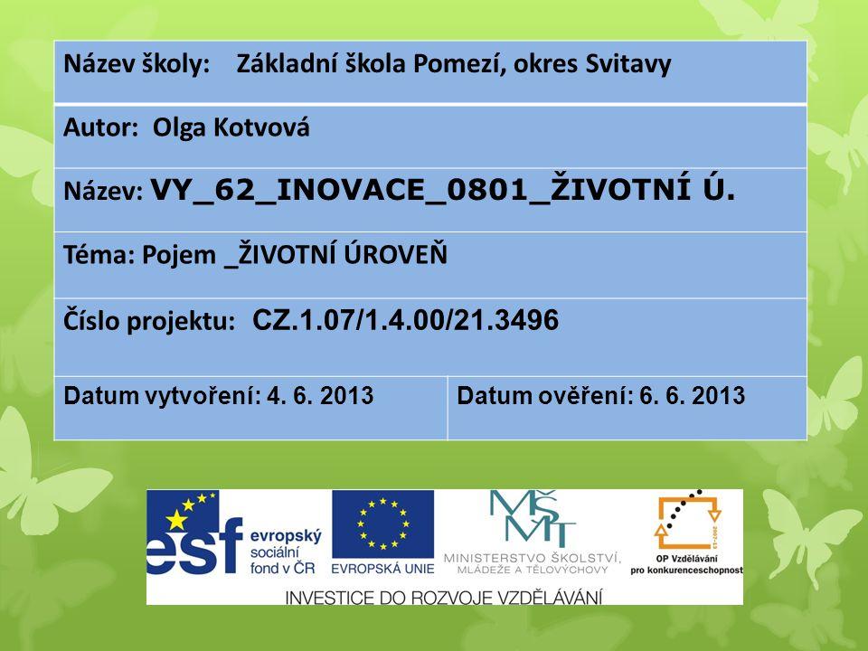 Název školy: Základní škola Pomezí, okres Svitavy Autor: Olga Kotvová Název: VY_62_INOVACE_0801_ŽIVOTNÍ Ú.