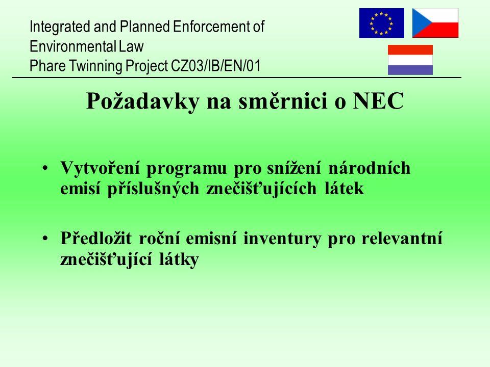 Integrated and Planned Enforcement of Environmental Law Phare Twinning Project CZ03/IB/EN/01 Požadavky na směrnici o NEC Vytvoření programu pro snížení národních emisí příslušných znečišťujících látek Předložit roční emisní inventury pro relevantní znečišťující látky