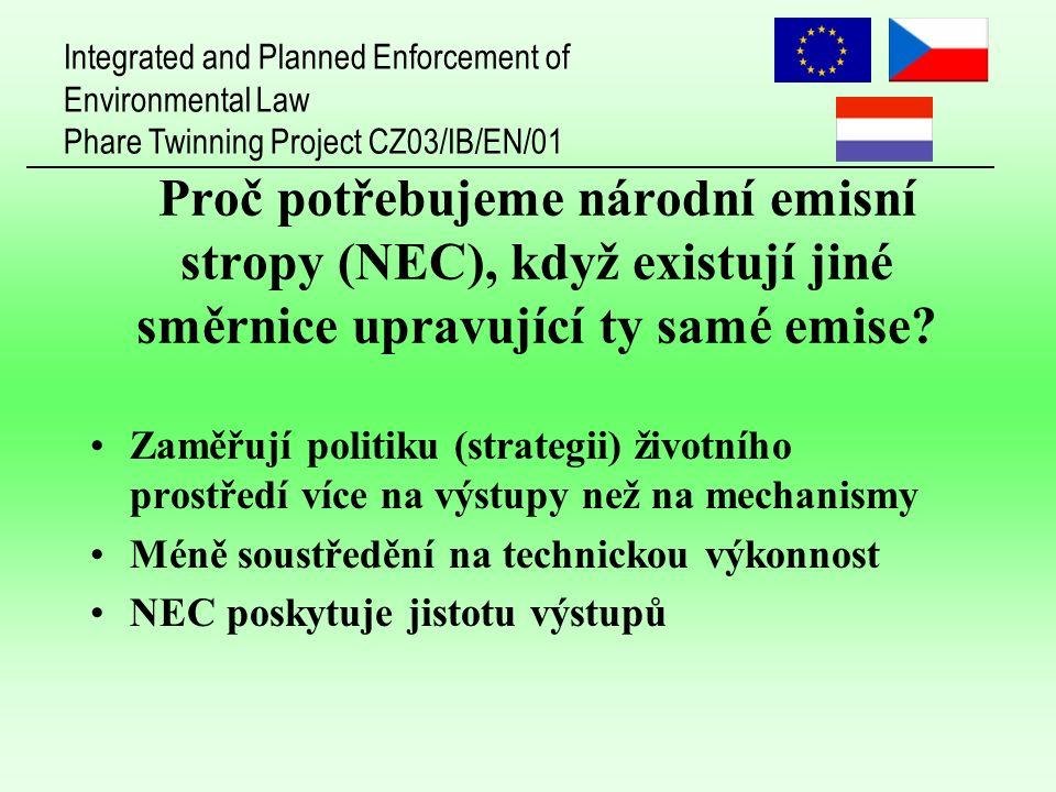 Integrated and Planned Enforcement of Environmental Law Phare Twinning Project CZ03/IB/EN/01 Proč potřebujeme národní emisní stropy (NEC), když existují jiné směrnice upravující ty samé emise.