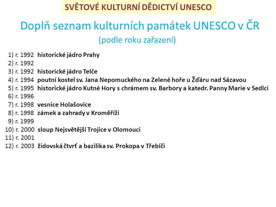 SVĚTOVÉ KULTURNÍ DĚDICTVÍ UNESCO Doplň seznam kulturních památek UNESCO v ČR (podle roku zařazení) 1) r.