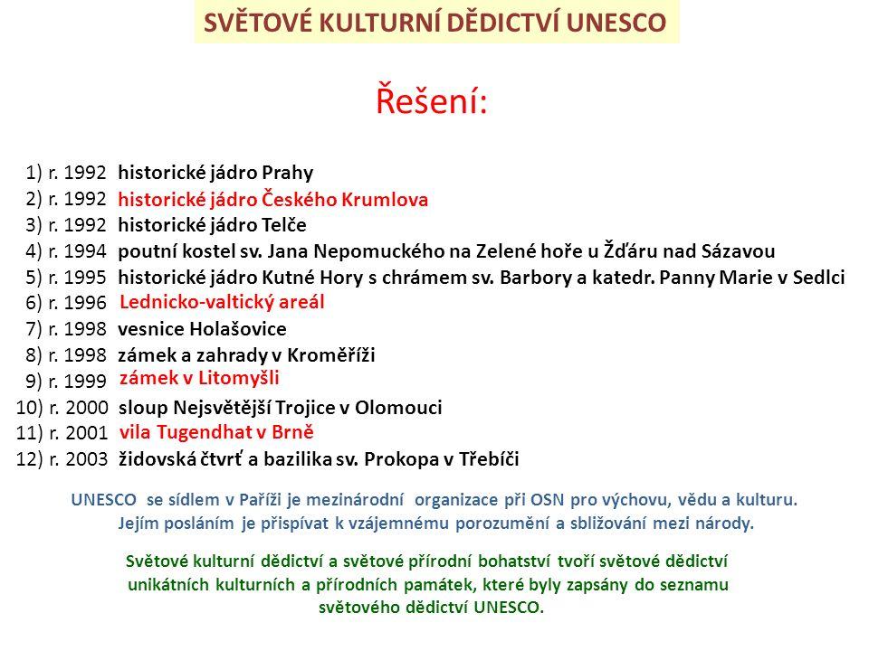 SVĚTOVÉ KULTURNÍ DĚDICTVÍ UNESCO Řešení: 1) r. 1992 historické jádro Prahy 2) r.