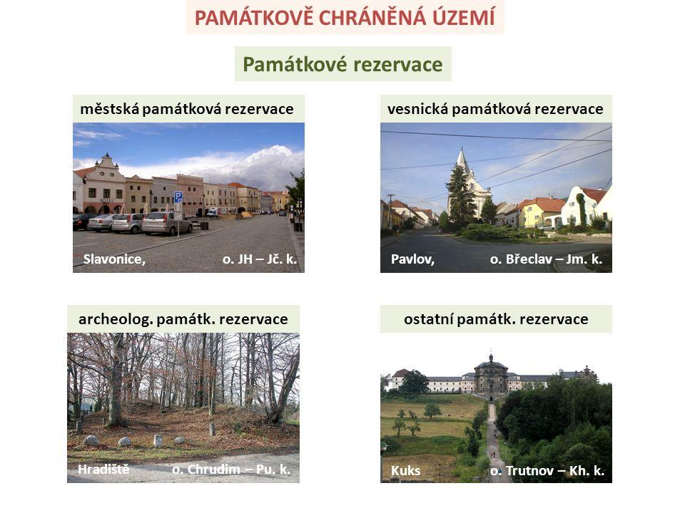 PAMÁTKOVĚ CHRÁNĚNÁ ÚZEMÍ Památkové rezervace městská památková rezervacevesnická památková rezervace archeolog.