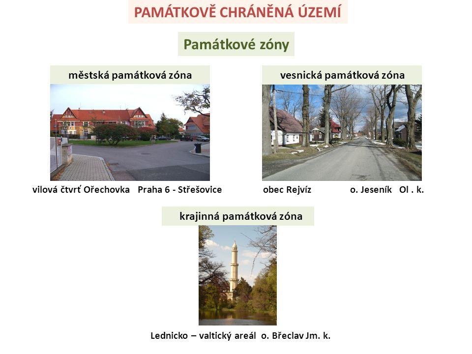 PAMÁTKOVĚ CHRÁNĚNÁ ÚZEMÍ Památkové zóny městská památková zóna vesnická památková zóna obec Rejvíz o.