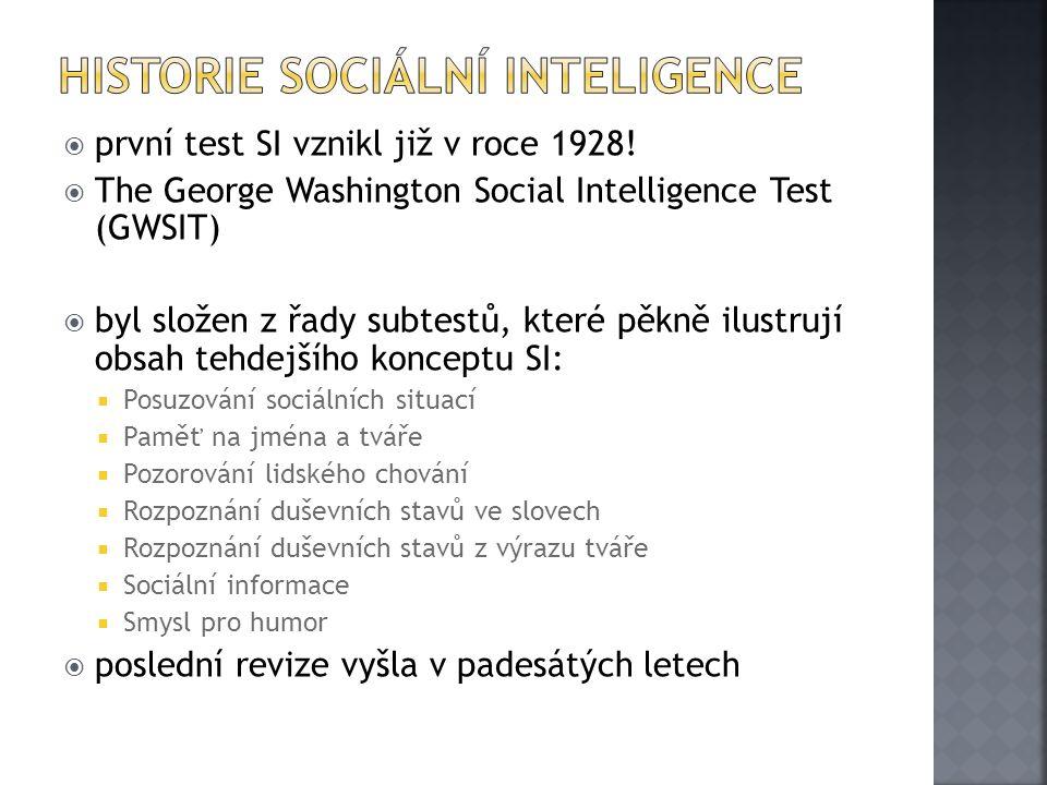  první test SI vznikl již v roce 1928!  The George Washington Social Intelligence Test (GWSIT)  byl složen z řady subtestů, které pěkně ilustrují o