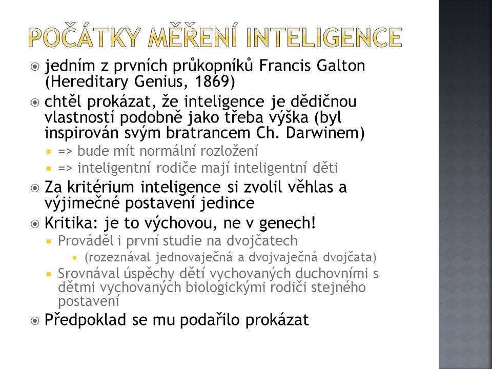  jedním z prvních průkopníků Francis Galton (Hereditary Genius, 1869)  chtěl prokázat, že inteligence je dědičnou vlastností podobně jako třeba výška (byl inspirován svým bratrancem Ch.