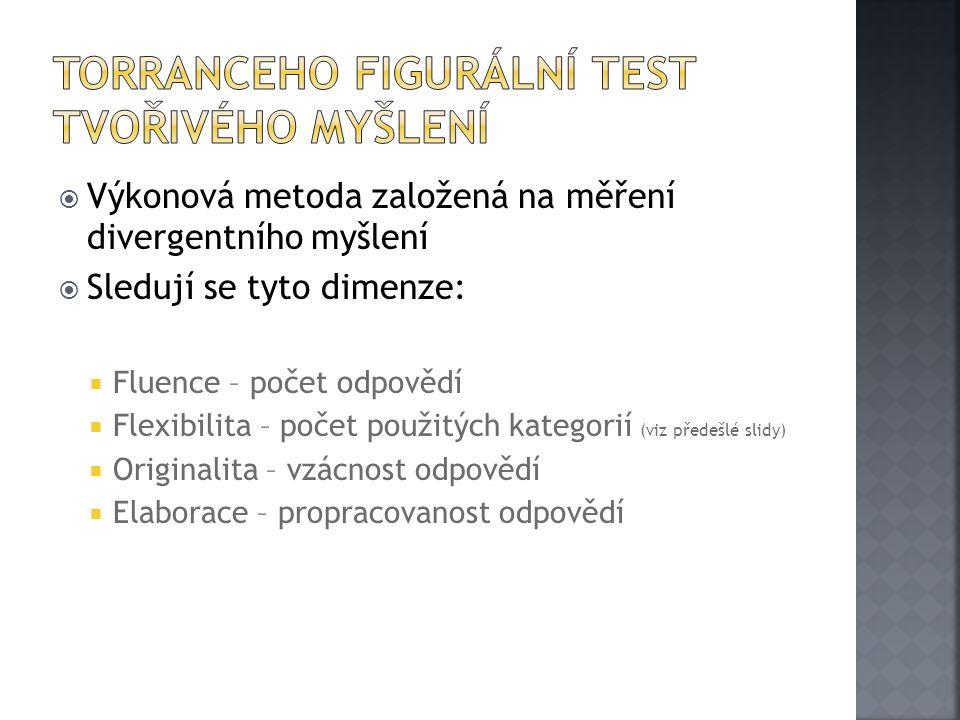  Výkonová metoda založená na měření divergentního myšlení  Sledují se tyto dimenze:  Fluence – počet odpovědí  Flexibilita – počet použitých kateg