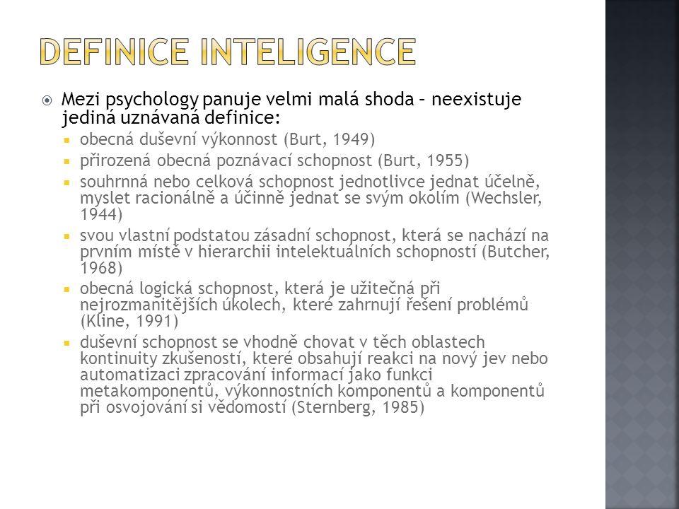  Mezi psychology panuje velmi malá shoda – neexistuje jediná uznávaná definice:  obecná duševní výkonnost (Burt, 1949)  přirozená obecná poznávací schopnost (Burt, 1955)  souhrnná nebo celková schopnost jednotlivce jednat účelně, myslet racionálně a účinně jednat se svým okolím (Wechsler, 1944)  svou vlastní podstatou zásadní schopnost, která se nachází na prvním místě v hierarchii intelektuálních schopností (Butcher, 1968)  obecná logická schopnost, která je užitečná při nejrozmanitějších úkolech, které zahrnují řešení problémů (Kline, 1991)  duševní schopnost se vhodně chovat v těch oblastech kontinuity zkušeností, které obsahují reakci na nový jev nebo automatizaci zpracování informací jako funkci metakomponentů, výkonnostních komponentů a komponentů při osvojování si vědomostí (Sternberg, 1985)