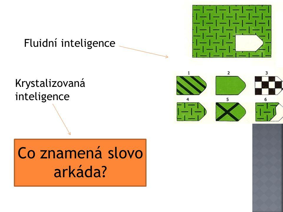 Fluidní inteligence Co znamená slovo arkáda Krystalizovaná inteligence