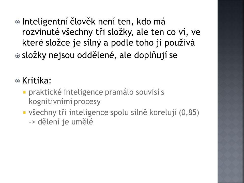  Inteligentní člověk není ten, kdo má rozvinuté všechny tři složky, ale ten co ví, ve které složce je silný a podle toho ji používá  složky nejsou o