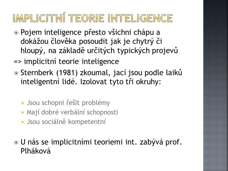  Pojem inteligence přesto všichni chápu a dokážou člověka posoudit jak je chytrý či hloupý, na základě určitých typických projevů => implicitní teori
