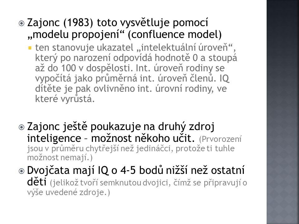 """ Zajonc (1983) toto vysvětluje pomocí """"modelu propojení"""" (confluence model)  ten stanovuje ukazatel """"intelektuální úroveň"""", který po narození odpoví"""