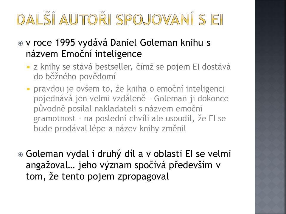  v roce 1995 vydává Daniel Goleman knihu s názvem Emoční inteligence  z knihy se stává bestseller, čímž se pojem EI dostává do běžného povědomí  pr