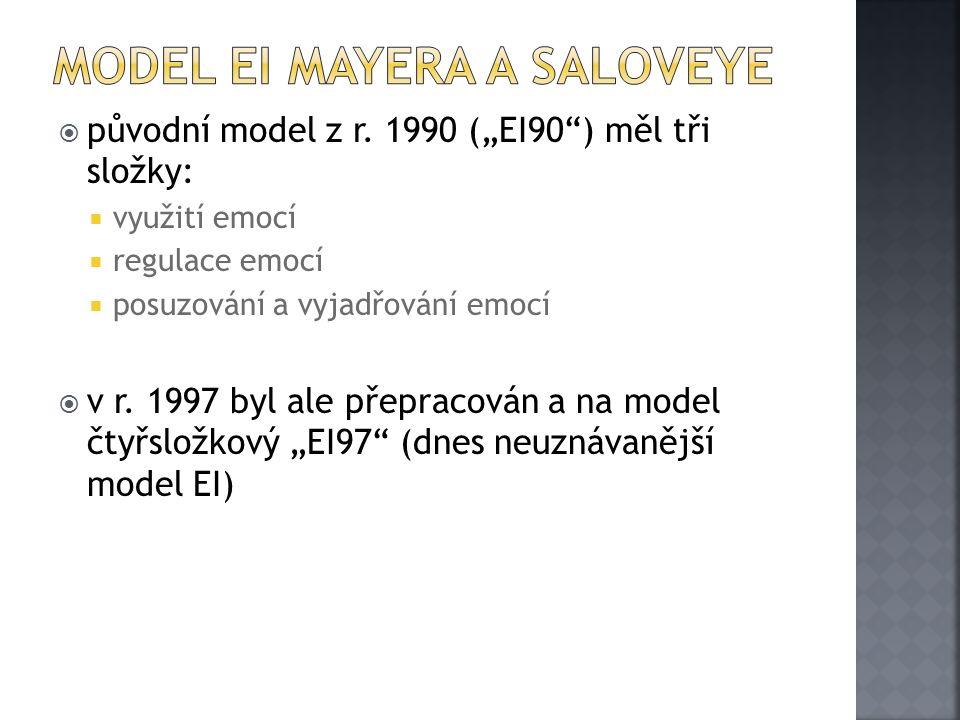 """ původní model z r. 1990 (""""EI90"""") měl tři složky:  využití emocí  regulace emocí  posuzování a vyjadřování emocí  v r. 1997 byl ale přepracován a"""