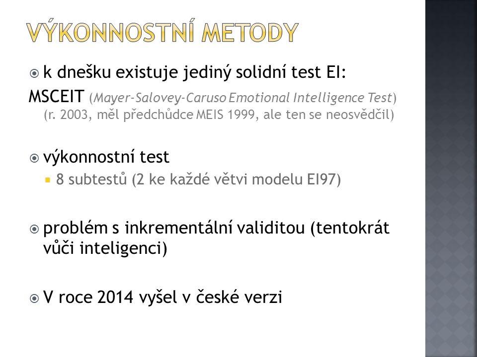  k dnešku existuje jediný solidní test EI: MSCEIT (Mayer-Salovey-Caruso Emotional Intelligence Test) (r. 2003, měl předchůdce MEIS 1999, ale ten se n