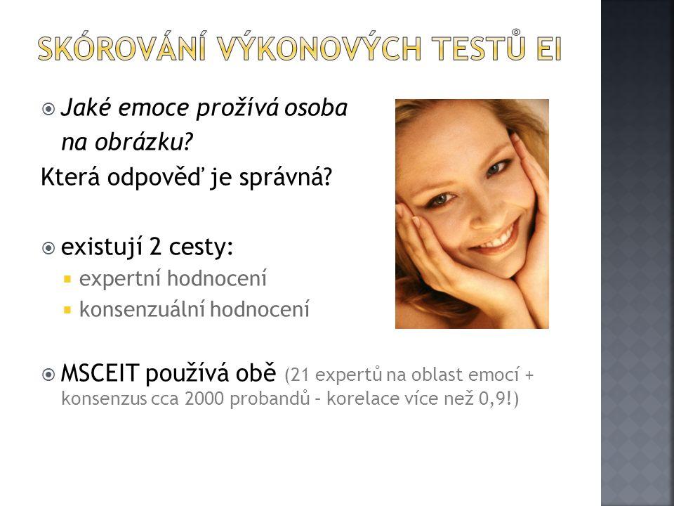  Jaké emoce prožívá osoba na obrázku? Která odpověď je správná?  existují 2 cesty:  expertní hodnocení  konsenzuální hodnocení  MSCEIT používá ob