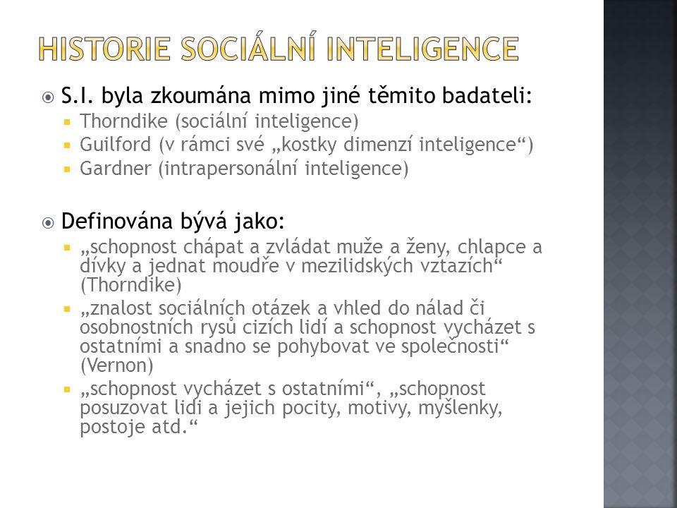 """ S.I. byla zkoumána mimo jiné těmito badateli:  Thorndike (sociální inteligence)  Guilford (v rámci své """"kostky dimenzí inteligence"""")  Gardner (in"""