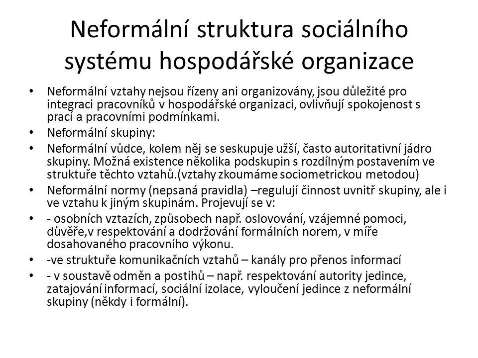 Neformální struktura sociálního systému hospodářské organizace Neformální vztahy nejsou řízeny ani organizovány, jsou důležité pro integraci pracovníků v hospodářské organizaci, ovlivňují spokojenost s prací a pracovními podmínkami.